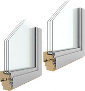 Fenster durchgeschnitten mit innenansicht holz-alu