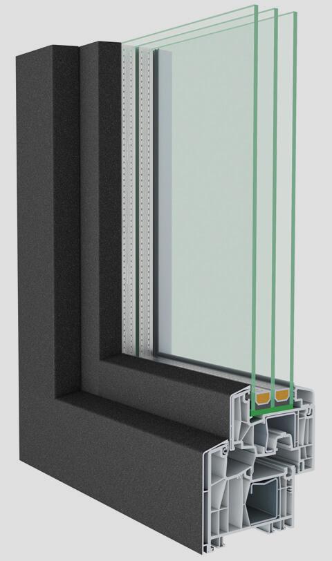 Fenster durchgeschnitten mit Innenansicht mit aludeck