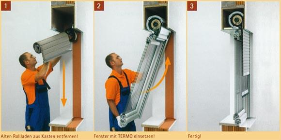 Handwerker vollzieht rollladentausch-und-fensterwechsel