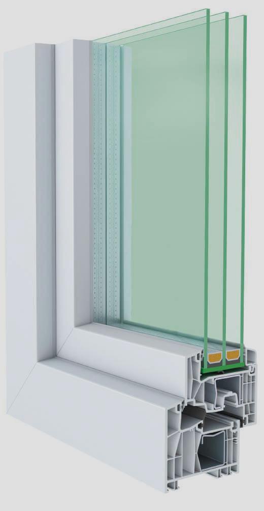 Fenster durchgeschnitten mit Innenansicht kunststoff